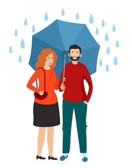 Homem de família e menina segurando um guarda-chuva na chuva. ilustração vetorial