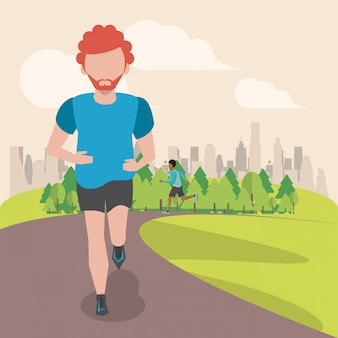 Homem de fitness correndo