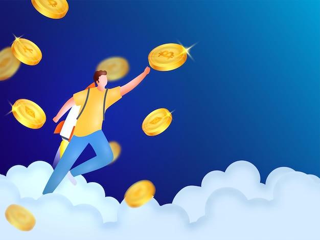 Homem de foguete sem rosto tocando ou alvo para moedas criptográficas no fundo de nuvens azuis.