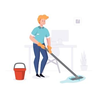 Homem de funcionários da empresa de limpeza limpa o escritório com uma esfregona com água. ilustração em um estilo simples