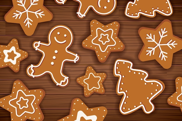 Homem de gengibre feliz natal na mesa de madeira
