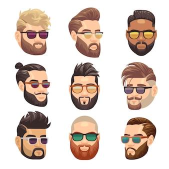 Homem de hipster barbudo dos desenhos animados e conjunto de penteado masculino