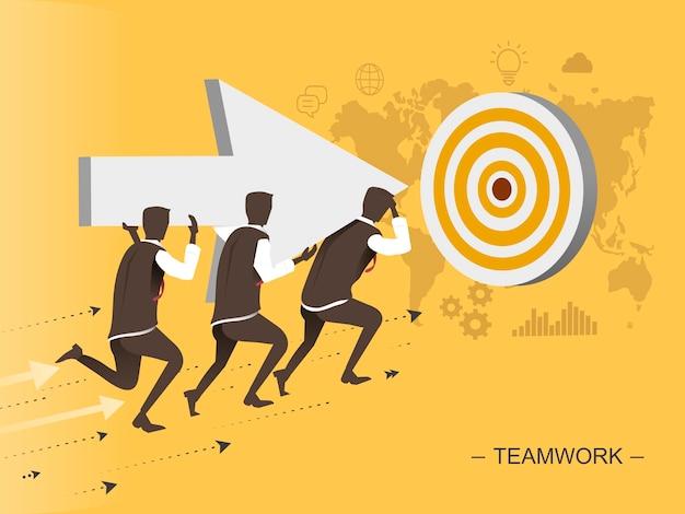 Homem de ilustração de design plano de trabalho em equipe se movendo em direção ao alvo