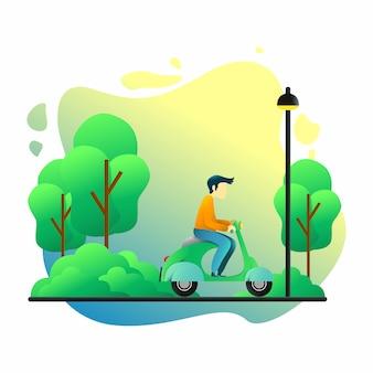 Homem de ilustração gradiente com vespa ui ux