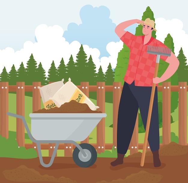 Homem de jardinagem com desenho de carrinho de mão e ancinho, plantio de jardim e natureza