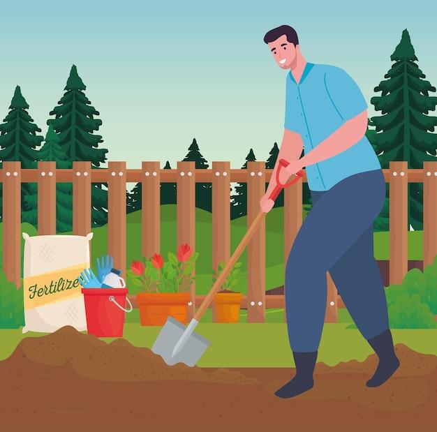 Homem de jardinagem com desenho de pá, plantio de jardim e natureza