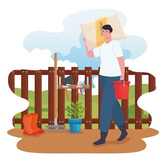 Homem de jardinagem com design de saco de fertilizante, plantio de jardim e natureza