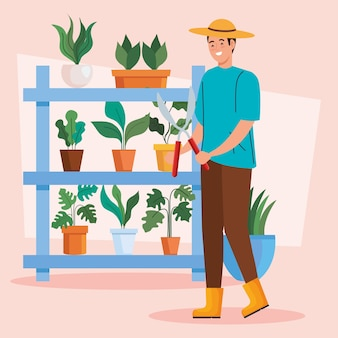 Homem de jardinagem com plantas dentro de vasos de design, plantio de jardim e tema da natureza
