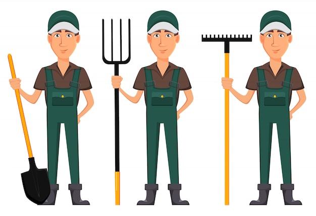 Homem de jardineiro, personagem de desenho animado de uniforme