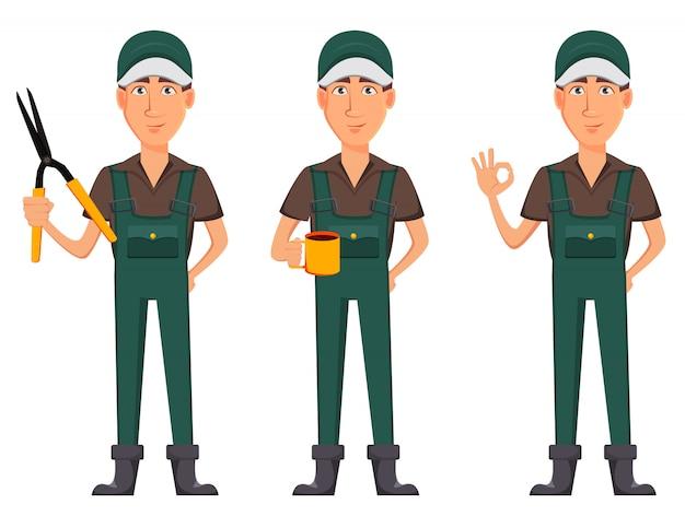 Homem de jardineiro, personagem de desenho animado em uniforme