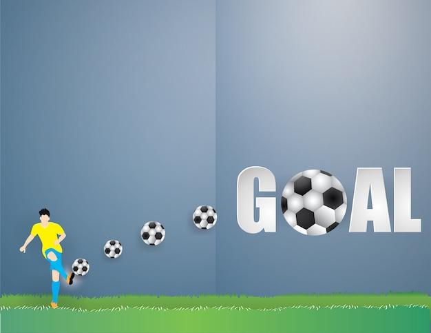 Homem de jogador de futebol isolado chute o futebol em fundo de grama verde