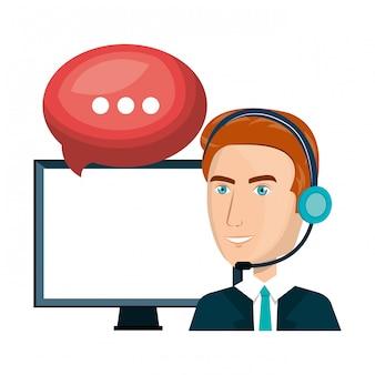 Homem de laptop design de centro de chamada de serviço ao cliente