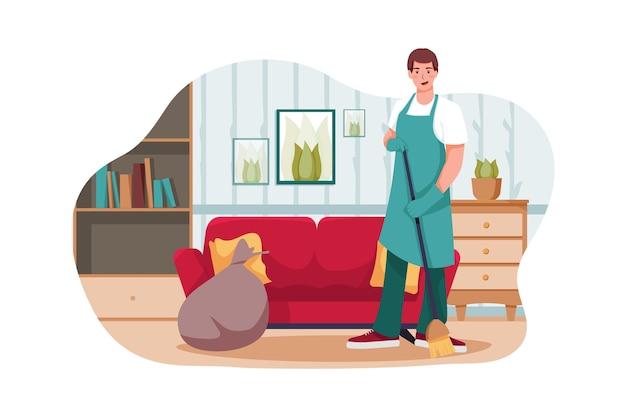 Homem de limpeza segurando vassoura satisfeito com casa limpa