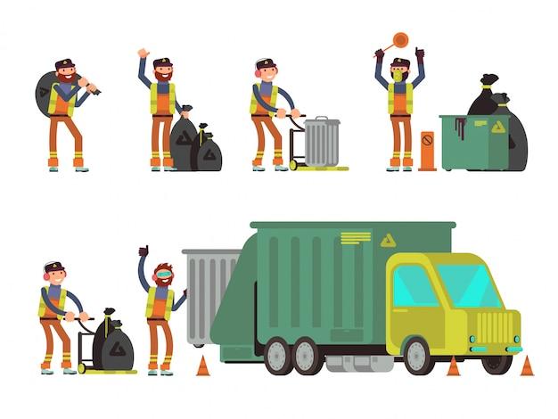 Homem de lixo, coleta de lixo da cidade e resíduos para reciclagem
