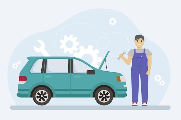 Homem de macacão repara um carro com uma chave inglesa. ilustração em vetor de um mecânico.