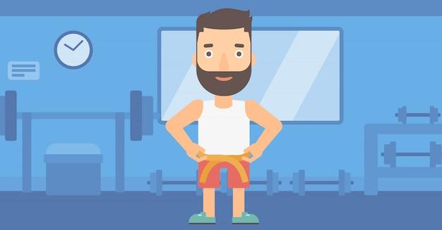 Homem de medição da cintura.