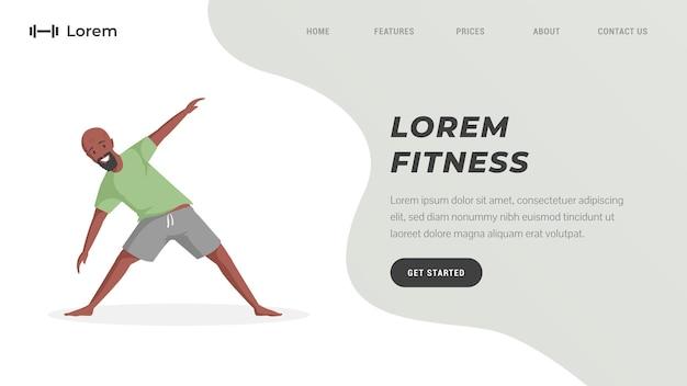 Homem de modelo de página de destino de treinamento de fitness ou treino online