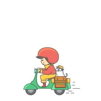 Homem de moto e ilustração em vetor cão personagem