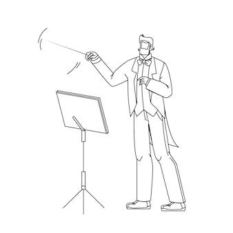 Homem de música maestro regendo orquestra linha preta desenho vetorial. maestro líder com bastão e suporte com livro de notas dirigindo músicos sinfônicos. ilustração em gesto de personagem