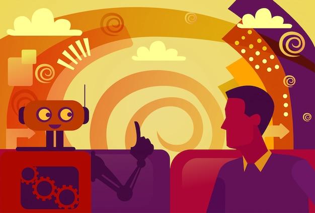 Homem de negócio e conceito da inteligência artificial de uma comunicação do robô