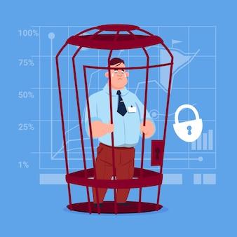 Homem de negócio no conceito financeiro do problema do prisioneiro da gaiola