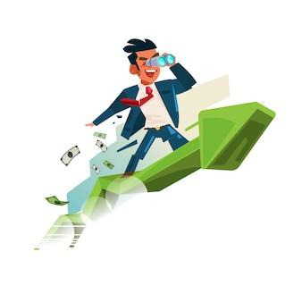 Homem de negócio que guarda binocular no gráfico ascendente. à procura de dinheiro e bem sucedido no conceito de negócio