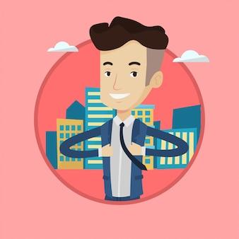 Homem de negócios, abrindo sua jaqueta como super-herói.