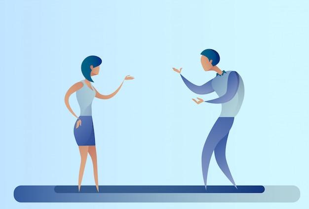Homem de negócios abstrato e mulher falando de cooperação de equipe de empresários