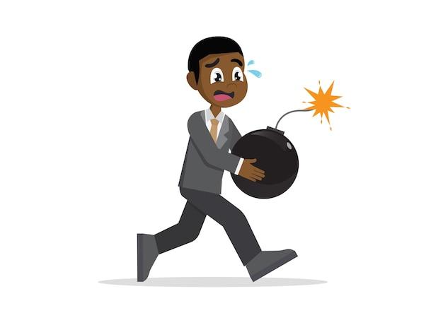 Homem de negócios africano que corre o pânico com bomba.
