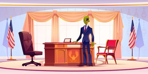 Homem de negócios alienígena engraçado ou presidente no escritório