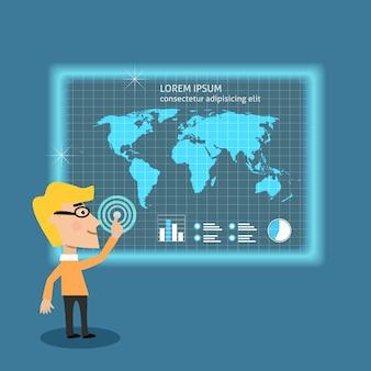 Homem de negócios, analisando grandes dados