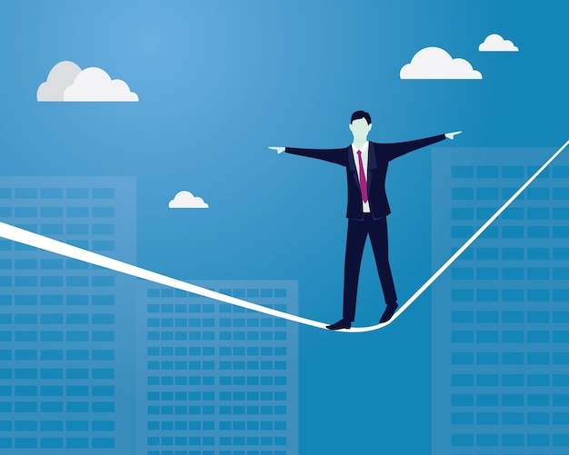Homem de negócios andando na corda. desafio de risco no conceito de negócios