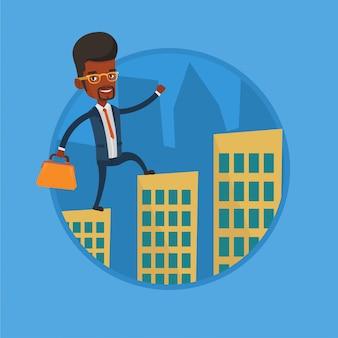 Homem de negócios andando sobre os telhados dos edifícios.