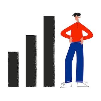 Homem de negócios ao lado de um gráfico de crescimento