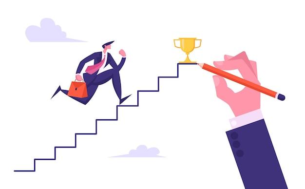 Homem de negócios apontando para o topo da escada com ilustração do copo de ouro