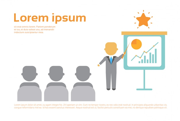 Homem de negócios apresentação apresentando flip chart com finanças gráfico, reunião de conferência de formação