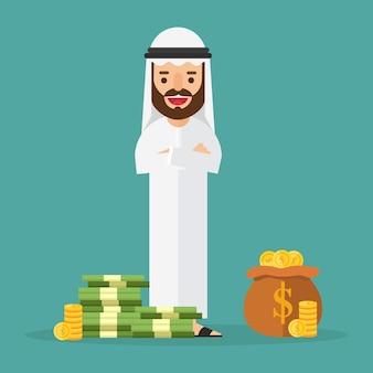 Homem de negócios árabe rico com muito dinheiro e ouro