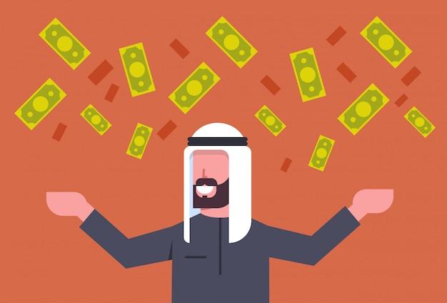 Homem de negócios árabes ricos jogando dinheiro até conceito de sucesso financeiro do empresário muçulmano