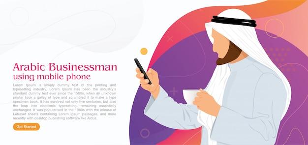 Homem de negócios árabes usando telefone celular de internet
