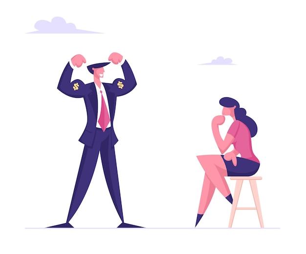 Homem de negócios arrogante demonstra músculos com o canto do dólar para uma mulher de negócios pensativa