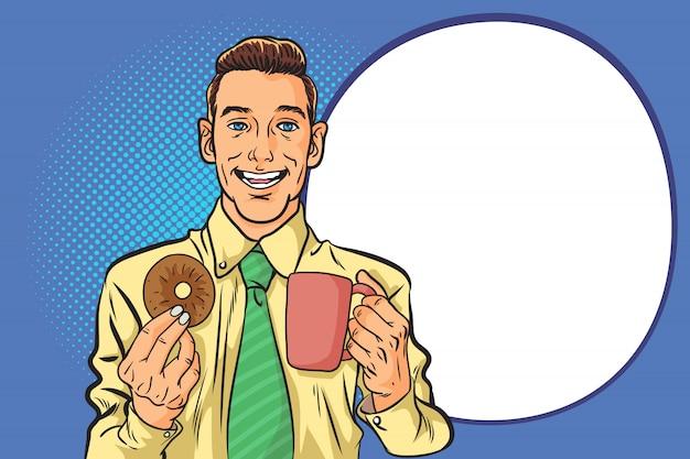 Homem de negócios, bebendo café e rosquinha