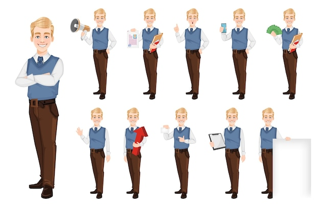 Homem de negócios bem-sucedido com roupas de estilo office conjunto de onze poses