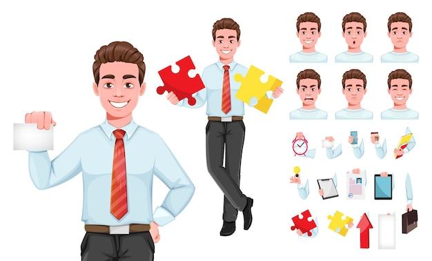 Homem de negócios bem-sucedido, pacote de emoções e coisas de partes do corpo