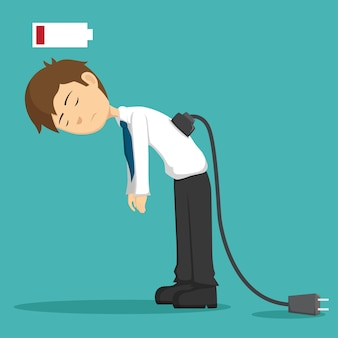 Homem de negócios cansado de trabalhar ou bateria baixa e soquete de necessidade