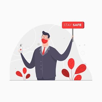 Homem de negócios caráter conceito ilustração segurando prancha stay save pandemic virus desinfetante de mãos isolamento