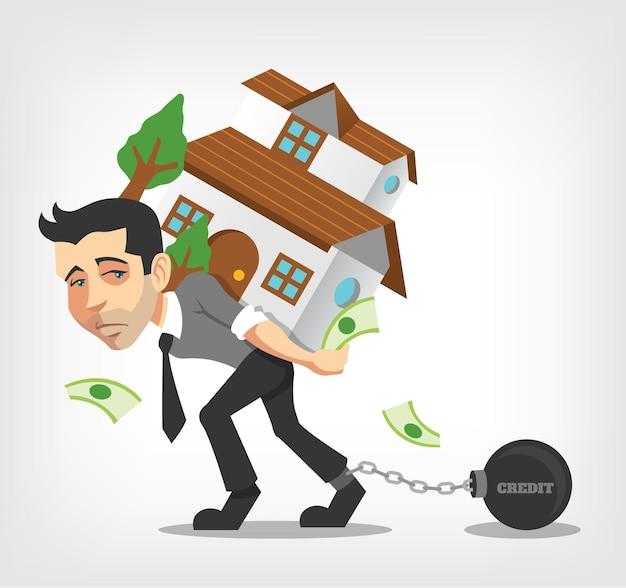 Homem de negócios carrega a casa.