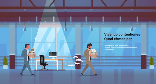 Homem de negócios, carregando caixa com coisas novo local de trabalho demitido frustrado empresário ir embora dispensa e novo conceito de trabalho escritório cópia espaço interior