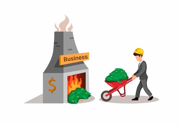 Homem de negócios carregando pílula de dinheiro em carrinho de mão para queimar dinheiro.
