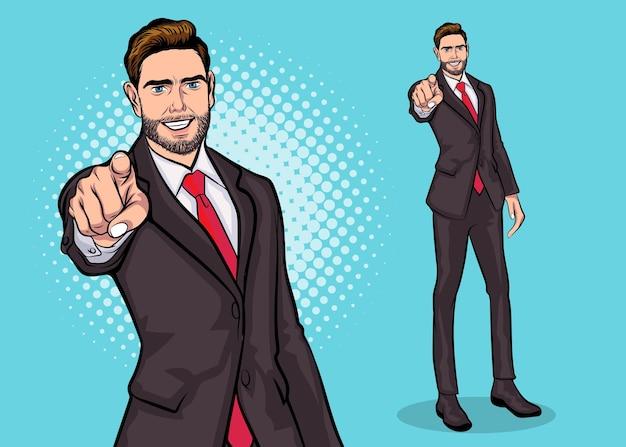 Homem de negócios chefe barbudo apontando para o estilo de quadrinhos de pop art da frente.