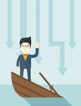 Homem de negócios chinês da falha que está em um barco afundando.